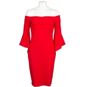 Off-Shoulder Day Dress(70499D/RED)